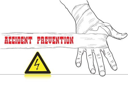 high voltage: Poster on compliance with safety reminder. High voltage. Illustration