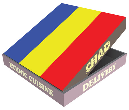 cardboard packaging: Delivery, Ethnic cuisine Chad. Cardboard packaging. illustration. Illustration