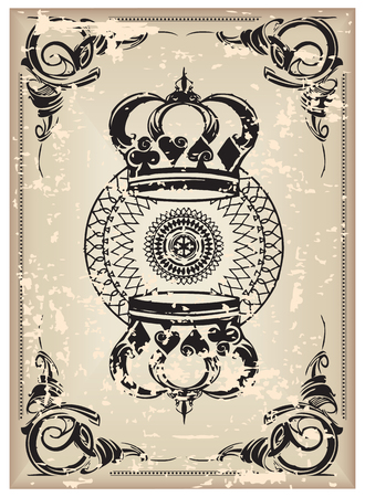 reverse: The reverse side of an old playing card.  illustration.