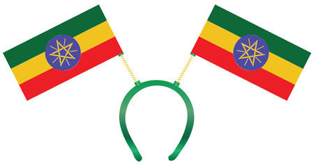 Headdress with a flag of Ethiopia for holiday.