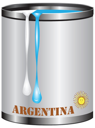 color match: Paint in a can match the color of the flag of Argentina.