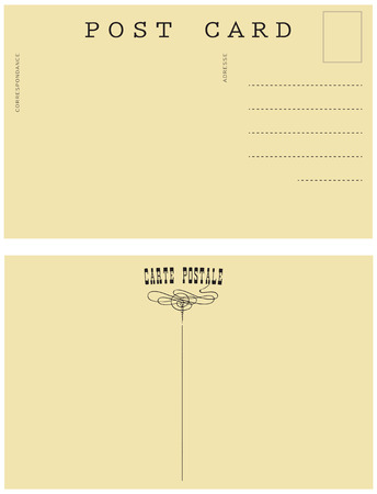 addresses: Retro postal card for placing messages and addresses.