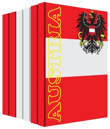 bibliography: Books about the country of Austria. Symbol flag.