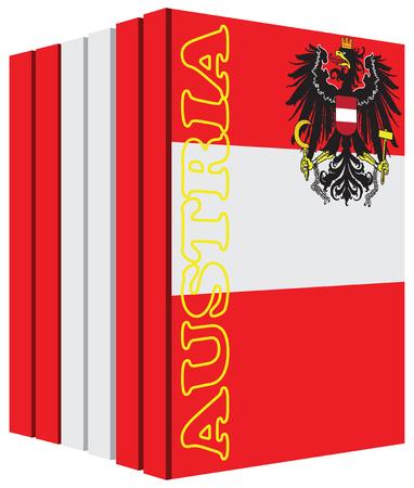 Libros sobre el país de Austria. la bandera del símbolo. Foto de archivo - 53856168