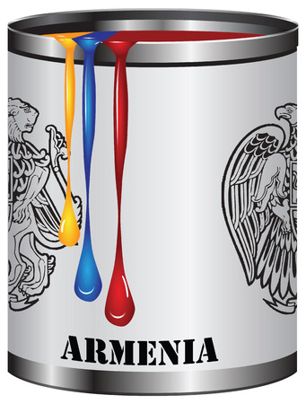 paint can: Paint in a can match the color of the flag of Armenia.