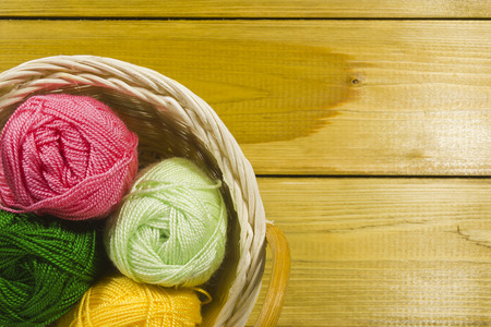 knitting: Set for knitting yarn in a basket Stock Photo