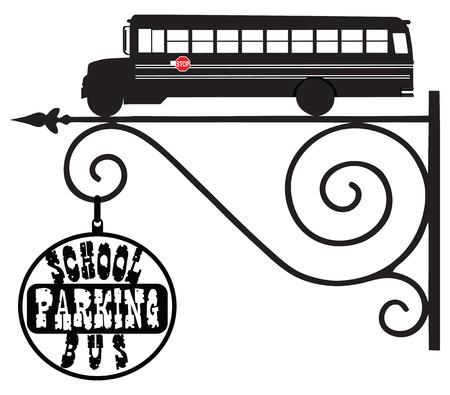street signs: Industrial pointer street parking school buses.