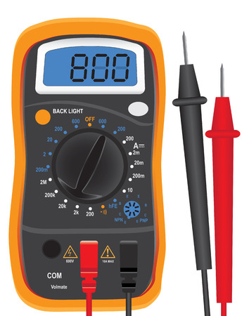 tester: Digital multi-function tester with two probes. Vector illustration.