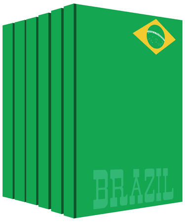 Books about the country of Brazil. Symbol flag.