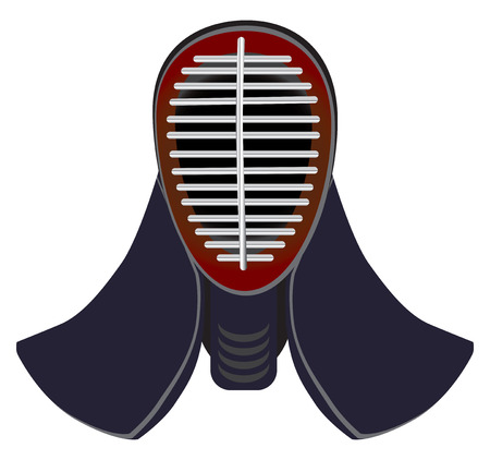 samurai warrior: Japanese fencing mask to practice kendo. Fencing protective mask.