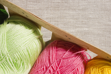 Set for knitting yarn in a basket 写真素材