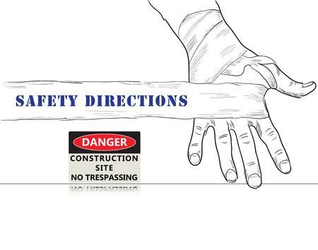prohibido el paso: cartel creativo para Instrucciones de seguridad. Muestra de seguridad del sitio de construcci�n Prohibido el paso.