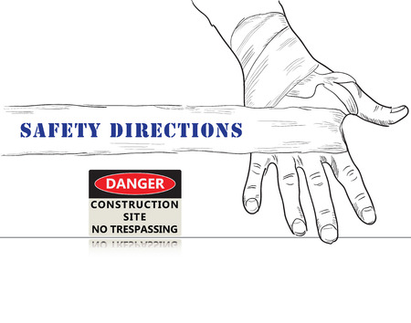 trespassing: Creative poster for Safety Directions. Safety Sign Construction Site No Trespassing.