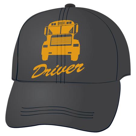 driver cap: Cloth baseball cap for the school bus driver.