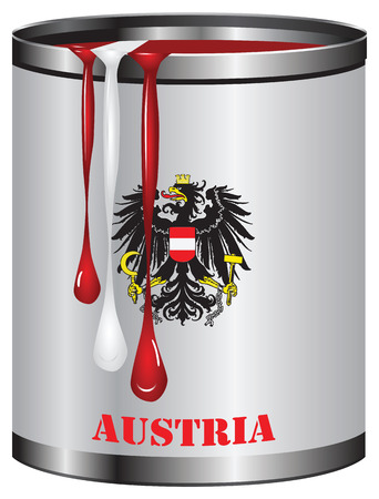 color match: Paint in a can match the color of the flag of Austria. Illustration
