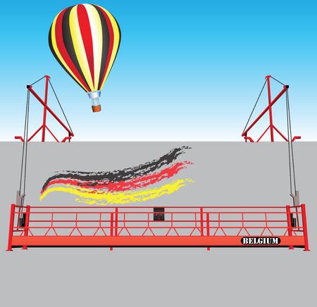 De industriële bouw muur met takel en een ballon België de nationale vlag kleuren.