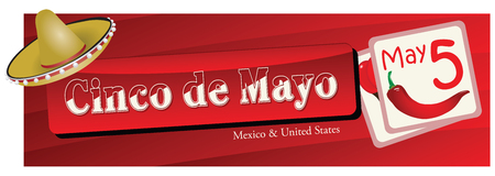 Banner for the Cinco de Mayo, celebrated on 5 May. Vector illustration.