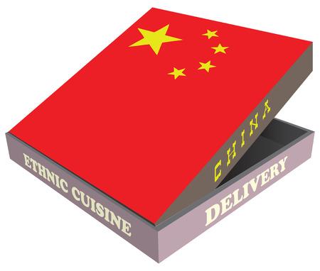 Delivery, Ethnic cuisine China. Cardboard packaging. Vector illustration. Ilustração
