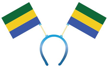Headdress with a flag of Gabon for holiday. 向量圖像