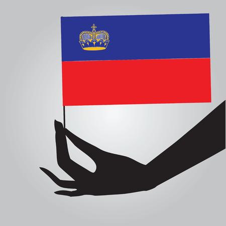 liechtenstein: Flag of Liechtenstein in a female hand. Vector illustration.