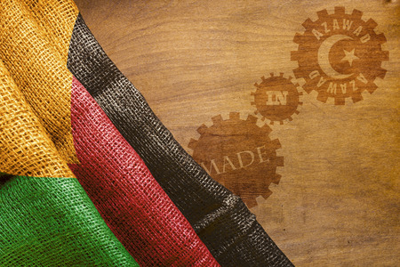 sackcloth: Made in Azawad. The national flag of Azawad stylized sackcloth.