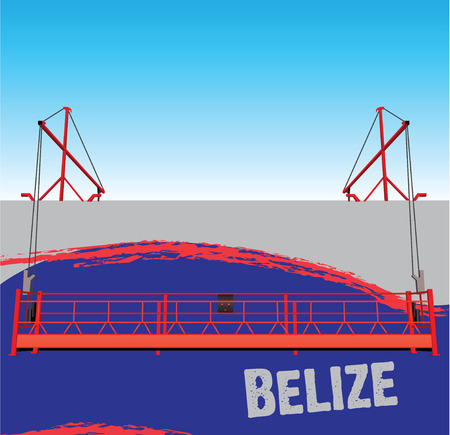 outboard: The wall of the industrial building painted in the colors of the flag of the country of Belize