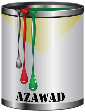 paint can: Paint in a can match the color of the flag of Azawad.