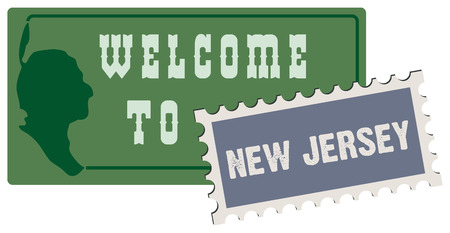 guide board: Road sign welcome to new jersey. Vector illustration. Illustration