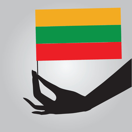 Flag of Lithuania in a female hand. Vector illustration. Ilustrace