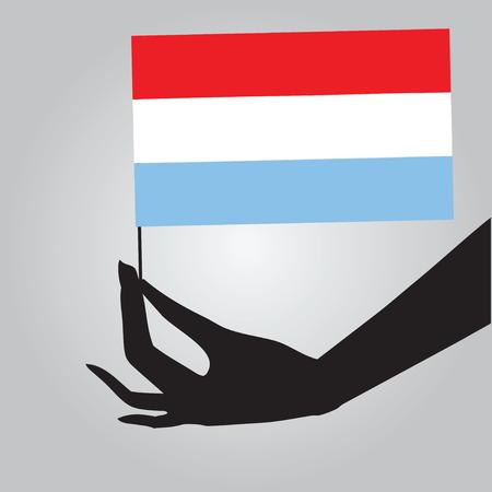 Vlag van Luxemburg in een vrouwelijke hand. Vector illustratie. Stock Illustratie