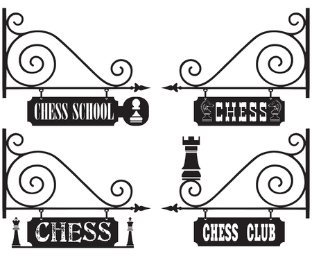 competitions: A set of street signs for chess clubs, chess schools, competitions, with chess pieces as decoration. Illustration