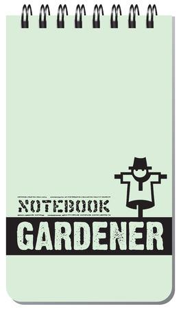 Notebook gardener, for notes on a spring. Vector illustration.