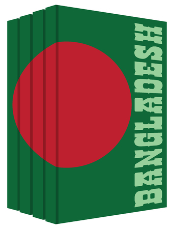 Books about Bangladesh. Cover books in the style of the state flag of the country.