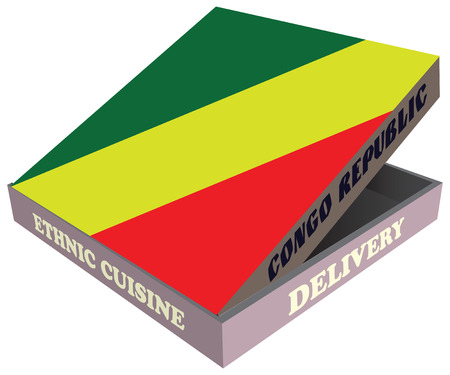 Delivery, Ethnic cuisine Congo Republic. Cardboard packaging. Vector illustration.