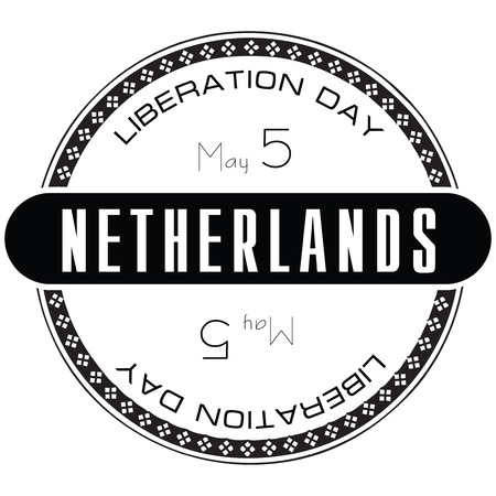 national holiday: National holiday in Netherlands, Liberation Day. Stamp illustration. Illustration