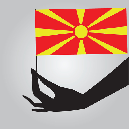 macedonia: Flag of Macedonia in a female hand. Vector illustration.