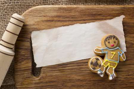 Cookies in the shape of a man, a footballer profession Stock Photo