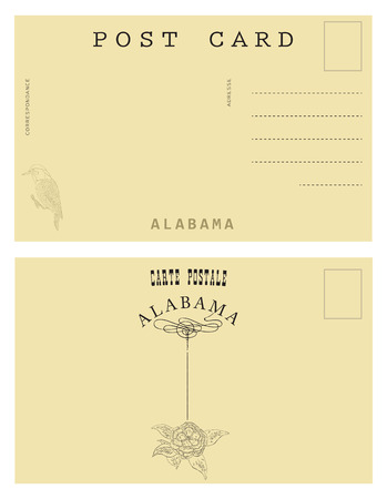 postal card: Vintage postal card from Alabama, USA. decor authentic symbols of the State of Alabama.