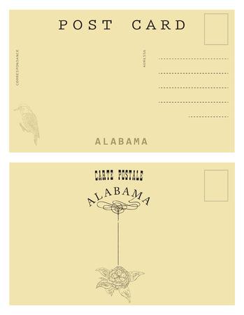 postal card: Vintage postal card from Alabama, USA. decor authentic symbols of the State of Alabama.