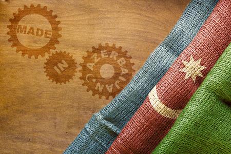 sackcloth: Made in Azerbaijan. The national flag of Azerbaijan stylized sackcloth.