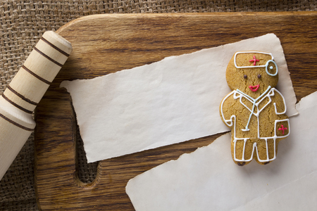 Cookies in the form of a man by profession a doctor Stock Photo