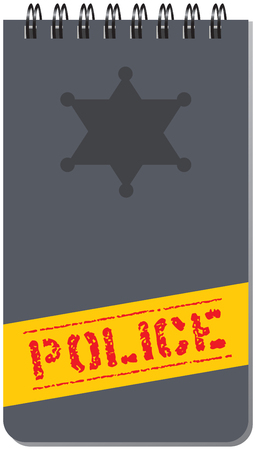 Notepad police, for notes on a spring. Vector illustration.