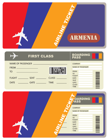 first form: Flight trip for a flight to Armenia with the service envelope. Illustration