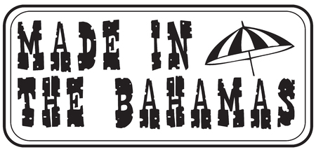 Made in the Bahamas - the stamp stylized print. Çizim