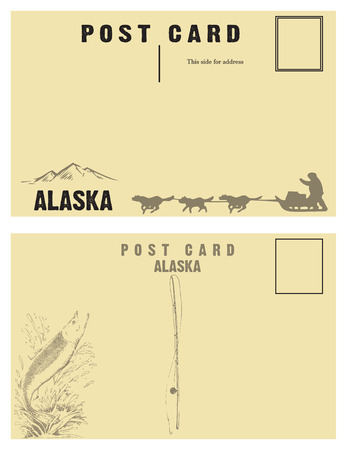 Vintage postcards for state of Alaska with retro illustrations.