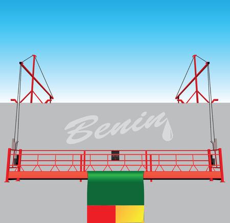hoist: Industrial buildings with technological hoist, and the flag of Benin.