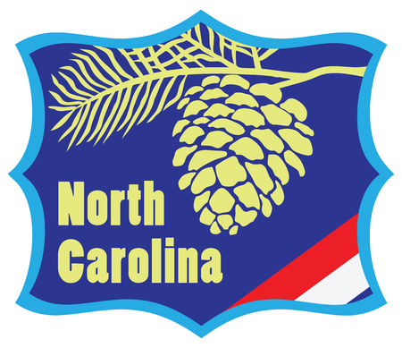 pinecone: Welcome to North Carolina road stand. Vector illustration. Illustration