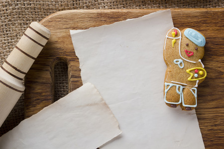 Cookies in the shape of man, profession artist Stock Photo