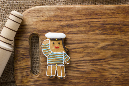 Cookies in the shape of man, profession sailor Stock Photo
