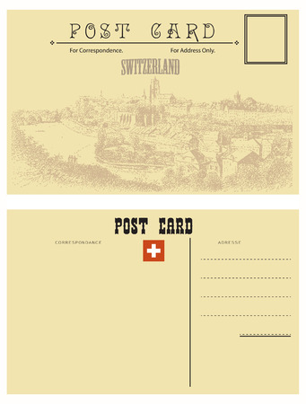 postcard: Switzerland postcards, vintage style attributes with the country of Switzerland.
